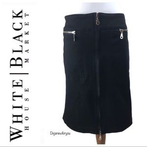 WHBM Black Zipper Front Pencil Skirt